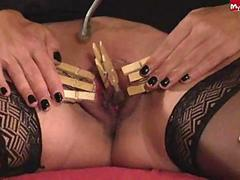 clothespins on a clit