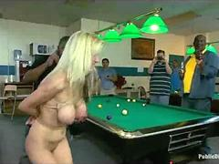 Tied boobs busty blonde fucked in public billiards club