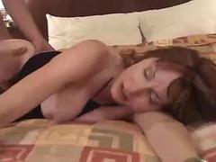 Bosomy mature milf gets roughly fucked by a young guy
