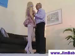 Old man fucking high heels blonde