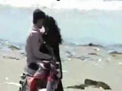 Indian chennai lovers kissing on marina beach
