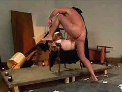 Bound in chair blonde pussy whipped and fucked