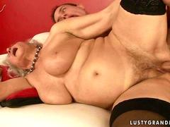 Horny granny fucking with young boy