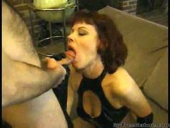 Sexy Granny Redhead Rubee Tuesday Wearing Pvc mature mature porn granny old cumshots cumshot