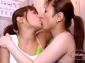 2 Asian Girls Kissing Passionately Sucking Tongues And Nipples On The Floor In The Locker Roo