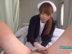 Asian Nurse Cleaning And Jerking Off Patient Cock Cum To Hands On The Bed In The Hospital