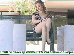 Maelynn super hot blonde with natural tits and no panties flashing pussy and toying pussy outdoors film