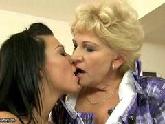 Granny loves a hot young girl to kiss gently