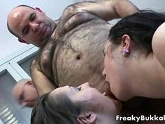 Fat guy gets his small dick licked