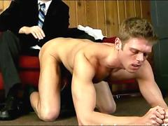 Young toned gay dude stripped naked by older gay guy with cock and ass play