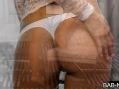 Seductive blonde babe rubs her wet pussy