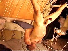 Jim roberts suspended upside down stuffed with a big dildo and balls bengayed and cbt movie