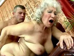 Busty old bitch gets fucked hard in a doggy style fuck