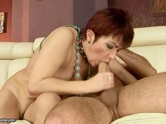 Granny really enjoys a huge cock in her pussy