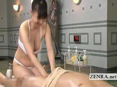 Subtitle Japanese sauna lady soapy massage with handjob