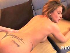 Hot milf babe gets her tramp stamp pounded doggy style