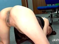 Kinky asian office slut jumping dick in her small ass hole feature