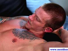 Horny hard jokc and muscle use toy after blowjobs