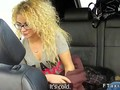 Curly haired blonde fucking in a fake taxi in public
