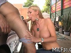 Sexy and wild car wash blowjob