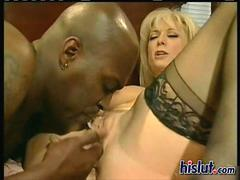 Blonde milf Nina likes it black and deep
