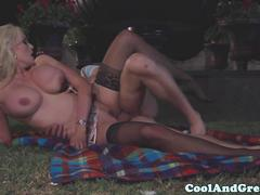 Busty blonde milf slut pounded outdoors