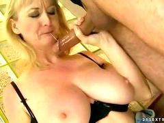 Busty grandma enjoys hard fucking with her man