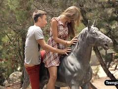 The most amazing teen Anjelica sucks and fucks outdoor