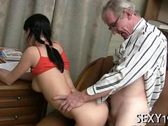 Sexy girl fuck old man