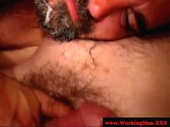 Mature gay bear receives a creamy facial