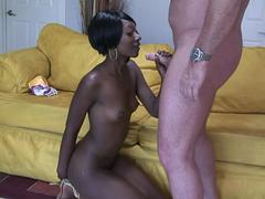 Skinny black amateur teen fucked on her first casting and eats cum.