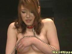 Bizarre japanese cuties all chained up