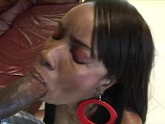 Alluring black slut gets her pussy and ass fucked by monster black cock