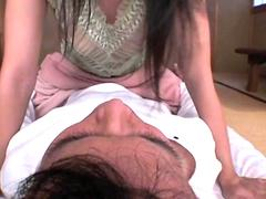 Japanese MILF milking her hubby s dick and licking his ass before sucking his dick and riding it