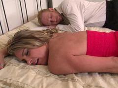 Tattooed black man fucks adorable blonde MILF slut while her cuckold man watches all of the action