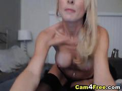 Pretty Blonde Sucks and Fucked by her Dildo