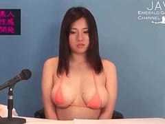 she is a busty news caster being sexy on air
