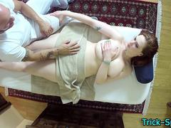 Massaged busty teen lured