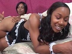 Ebony hot maid seducing her horny mistress