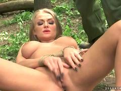 Sexy blonde gets bondaged and fucked in woods