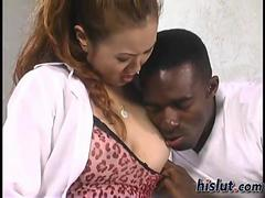 black man on her oriental boob sucking it down