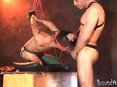 Bound and blindfolded boy face fucked on his knees