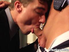 Suited twink rides hunky neighbors cocks