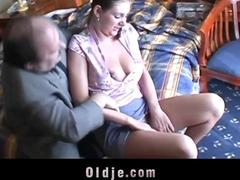 Big boobs chick sucking old dick in hotel room