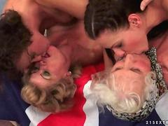 Two grannies and two young girls in hot lesbian action