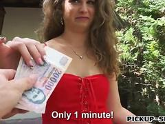 Euro slut gives her pussy away for some cold hard cash