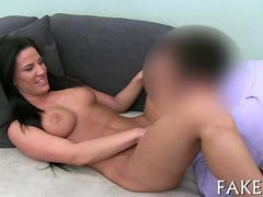 Busty Hungarian chick eaten out on a casting agents couch