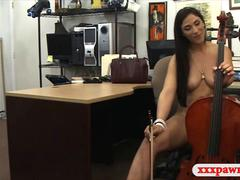 Classical trained Latina musician fucking a nasty pawn shop owner for cash