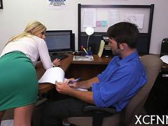 Amateur blonde business woman gets boned in her little office