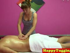 Asian masseuse tugging client for extra money